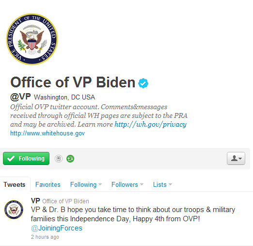 VP on Twitter