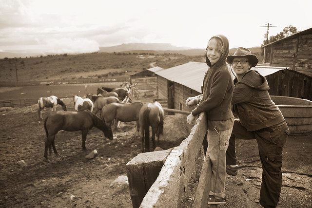 Black Mountain Colorado Dude Ranch sepia boys at fence