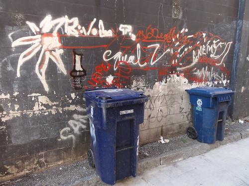 Trash bins and street art
