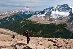 Descending Whaleback Ridge (Marc Shandro) Tags: summer people woman canada mountains nature beautiful wonderful landscape high view bright outdoor altitude scenic sunny alpine northamerica rockymountains wilderness elevation majestic twopeople rugged yoho grandness