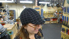 Nickey models a wool cycling cap