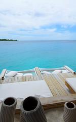 Laze Time (Mystrimus) Tags: blue sea white water clouds island nikon horizon lagoon resort hammock nikkor maldives cushions laamu sixsenses 1424mmf28g d7000
