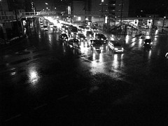 Rainy night (SOVA5) Tags: road light blackandwhite reflection rain night kyoto ricoh grd grd2 grdigital2