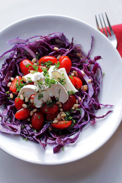 Goat cheese, Tomatoes and Red Cabbage