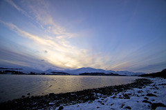 Winter Sunset, Loch Eil (slynkycat) Tags: pink blue winter sunset cloud snow cold gold scotland raw loch locheil iphotooriginal