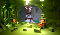 Terror in the Deep (tin) Tags: lighting up monster 1 rocks mine lego scene blow mining part material ba minifig build mash minifigure atin brickarms