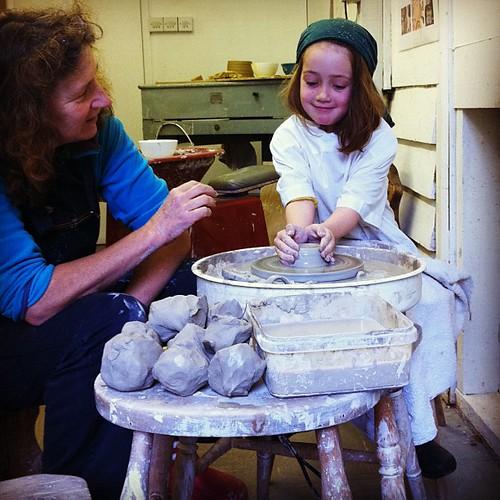 The wonderful Jane at #Dartington taught Item to throw a pot