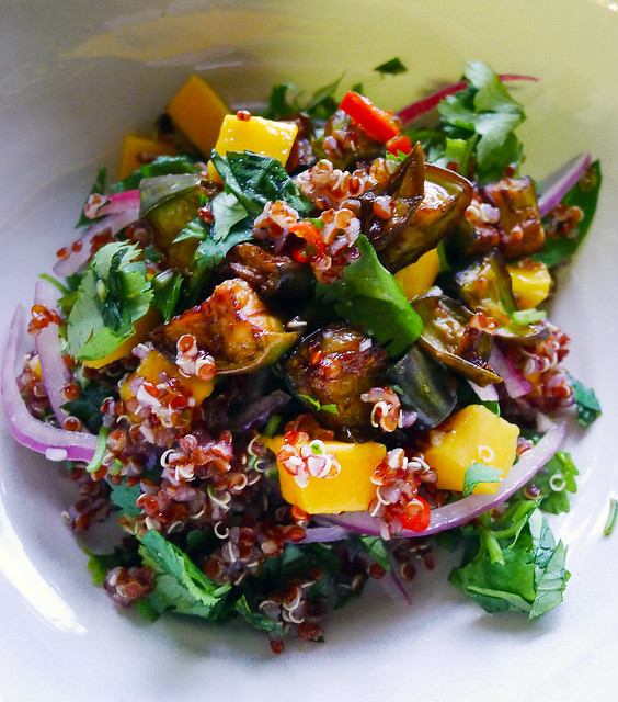 quinoa, mango, and eggplant salad