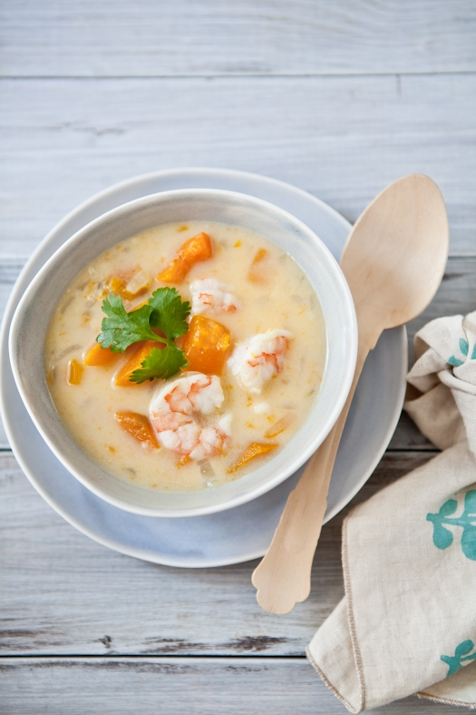 Coconut Soup With Red Kuri Squash & Shrimp