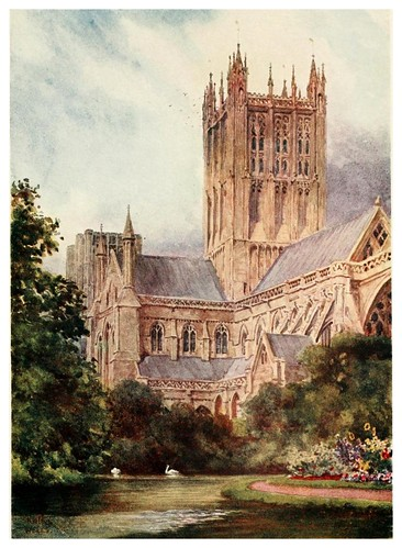 015-Wells catedral y lago- Cathedral cities of England 1908- William Wiehe Collins