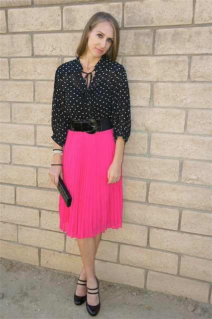 Black and white polka dots with pink skirt