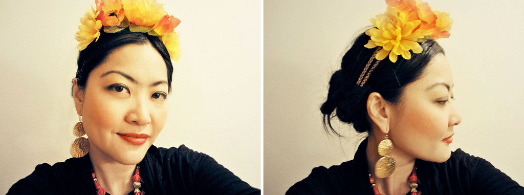 Halloween Costume - Frida Kahlo - Flower Headband - Gold and Bead Accessories - Vintage