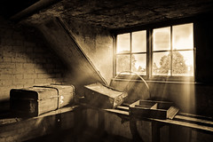 The Attic (sj9966) Tags: old greatbritain england urban abandoned loft canon vintage dark dead eos peeling paint unitedkingdom decay exploring suicide central security luggage attic rotten suitcase derelict convent hdr decayed decaying boarded urbex photomatix sj9966