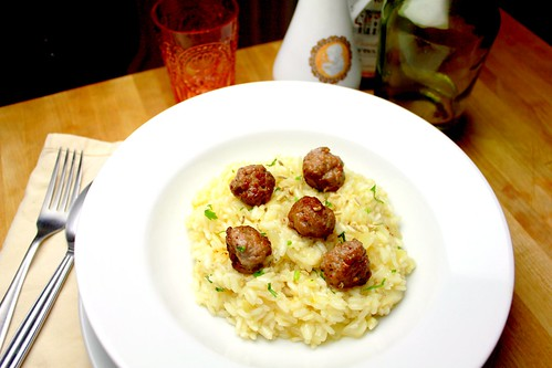 white risotto with fennel sausage meatballs