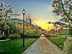 Campus Afternoon Special (bowlerchick911) Tags: park camera sunset sky sun chicago fall college colors sunrise painting university library 4 north perspective lamps distance viewpoint hdr northpark distant pathways iphone lampposts npu albanypark northparkuniversity brandellibrary