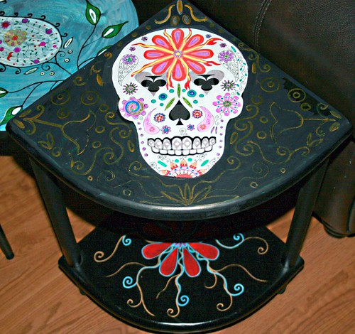 Sugar Skull Corner Shelf by Rick Cheadle Art and Designs