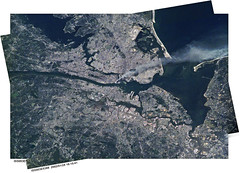 9/11 Seen from the Space Station (sjrankin) Tags: newyorkcity panorama newyork fire edited smoke 911 nasa iss003