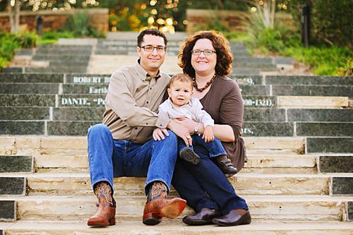 on steps furrowed luke family photo