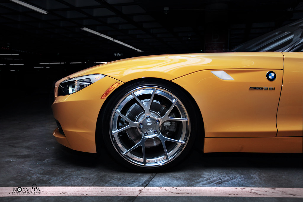 Yellow Bmw Z4 On Custom Wheels