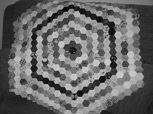 hexies progress nov 2011 b&w