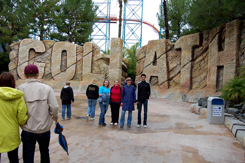 Standing in front of the rollercoaster, Goliath, at Six Flags