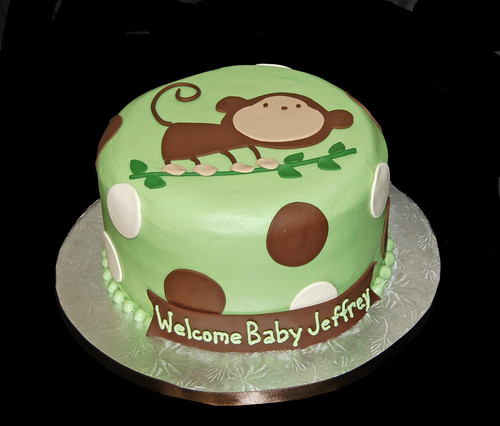 green and brown monkey baby shower cake baby jeffrey