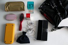 Day Eighteen: In My Bag (words like a wildfire) Tags: pink black 30 pencil hair bag photo bottle coach day perfume wallet brush pouch ear calculator buds 18 challenge graphing inmybag eighteen pencilpouch