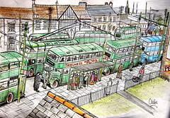 Nottingham buses, fictional sketch 11 (Lady Wulfrun) Tags: city nottingham bus buses illustration sketch drawing streetscene 1950s 1959 trolleybus 1960 halfcab trolleybuses asitwas motorbuses rearloader