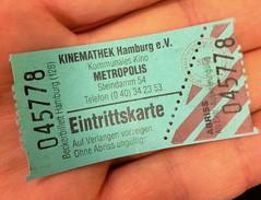Eintrittskarte (NullProzent) Tags: kino hamburg eintrittskarte metropolis petrol grün kinemathek beckerbillett
