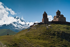 Mount Kazbek (c_c_clason) Tags: leica 35mm georgia m8 kazbegi holytrinitychurch carlzeiss biogon tsmindasameba kazbek biogont235