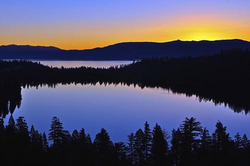 [フリー画像] 自然・風景, 湖・池, 夕日・夕焼け・日没, 山, カナダ, 201107081900