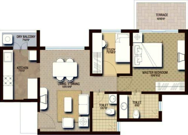 PRA The Lake District 1.5 BHK Flat onOdd Floors 576 sq.ft. Carpet + 53 sq.ft. Terrace