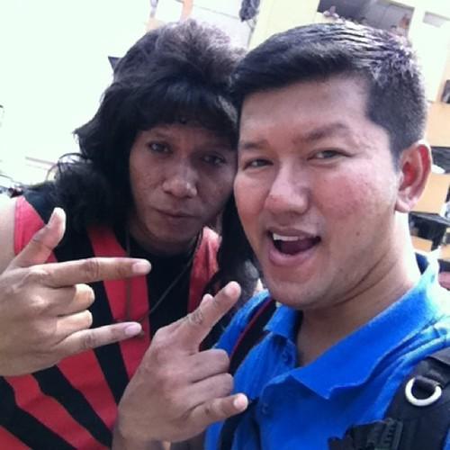 Budiey bersama Khir Rahman yg memegang watak Jijo di set Filem Rock Oo