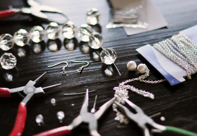 Crystal Ball Drop Earrings DIY - materials