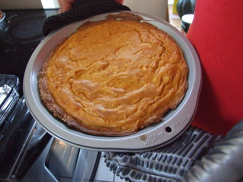 Pumpkin cheesecake, prior to chilling