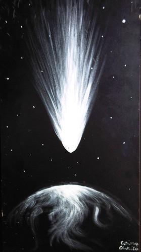Cometa aducatoare de viata - Teoria panspermiei - The life bringing comet painting