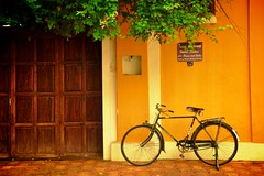 Yellow-ness (amohanlal) Tags: house yellow architecture french gate cycle pondicherry