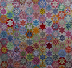 Hexagon Stars Quilt (QOB) Tags: quilt quilted patchwork handpieced qob longarmmachinequilted quiltsonbastings