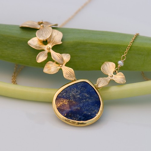14k gold necklace with large bezel lapis drop and 16k gold orchids