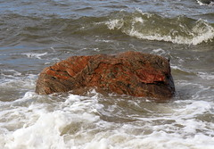Waves Breaking on Stony Creek Granite Gneiss (sandy richard) Tags: usa newyork unitedstates geology wildwood wadingriver wildwoodstatepark sandyrichard longislandgeology sandrarichard