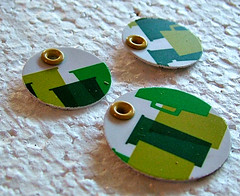 green and white plastic earring pendant set (kmsdesigns) Tags: recycle reuse jewelrymaking recycledplastic