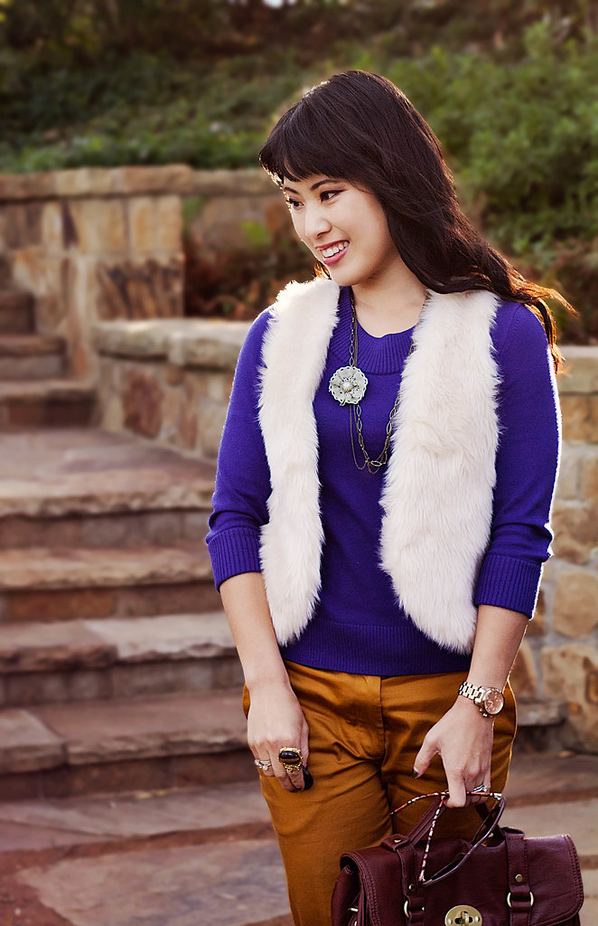 olsenboye angora white fur vest, banana republic purple knit sweater, h&m mustard cropped trousers, flower necklace, romwe street style gem arty ring, tjmaxx vieta lucille brown buckle satchel, forever 21 silver braided pumps, enzo milano 25mm clipless curling rod