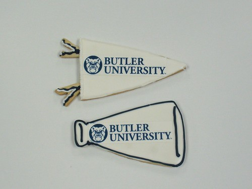 [Image from Flickr]:Butler University Pennant cookies & Megaphone