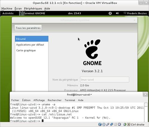 Gnome 3.2 dans OpenSuSE 12.1rc