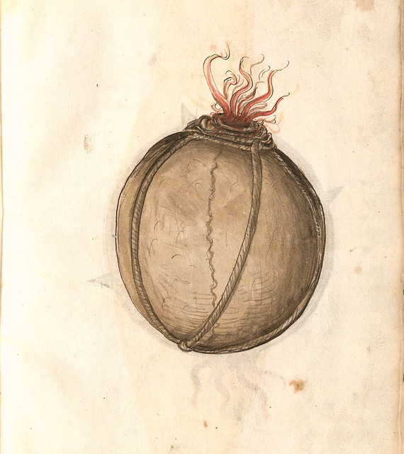 hand-drawn sketch of spherical medieval bomb