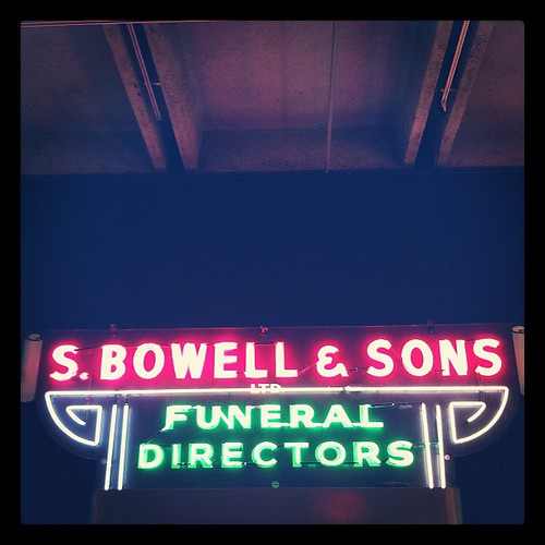 Neon sign for S.Bowell & Sons, Funeral Directors, at the Museum of Vancouver's Neon Vancouver | Ugly Vancouver exhibition