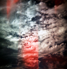thunder (savyking) Tags: pink blue red sky cloud white storm film weather clouds contrast vintage dark lomo lomography cloudy iso400 doubleexposure atmosphere stormy bluesky lightleak lightleaks fujifilm vignetting vignette 120mm doubleexposed troposphere storming fujicolor holga120n