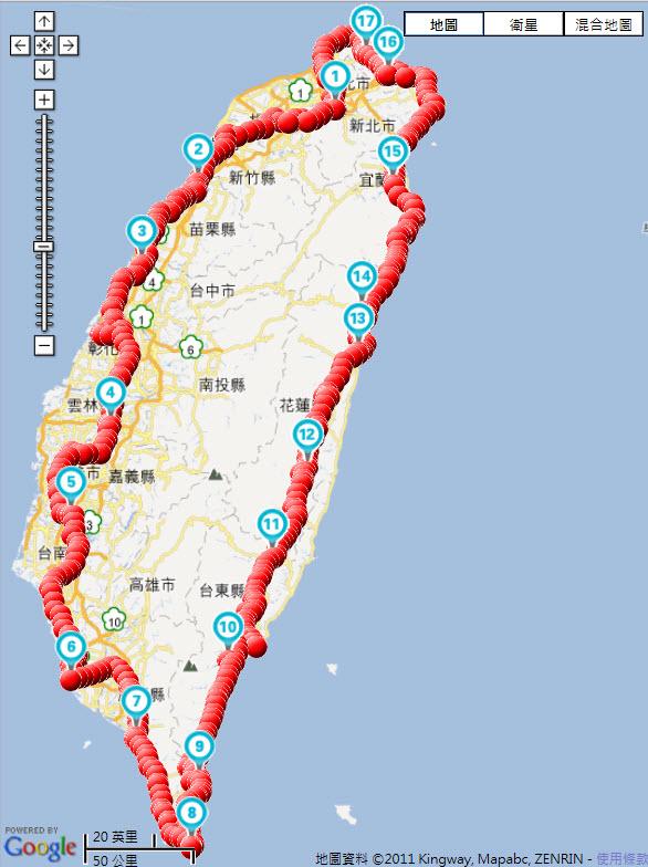 單車環島_2011_1009-1025 軌跡圖