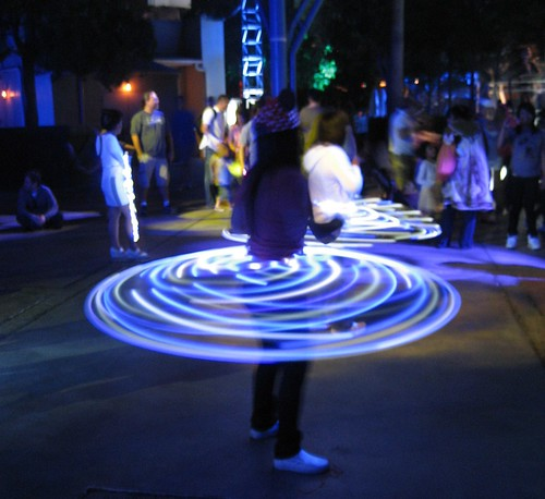 Lighted Hula Hoops at ElecTRONica party