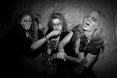 Happy Halloween (rolfspicture) Tags: girls portrait bw woman halloween mask action location horror modells